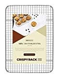 CrispyRack Heavy Duty 100% 304 Stainless Steel Wire Rack For Cooking, Roasting, Drying, and Grilling. Rack Fits Small Quarter Sheet Size Baking Pan, Oven Safe, Commercial Quality, 8.5' x 12'