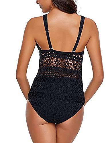 Bañadores Mujer Reductores Barriga,Bañadores Mujer Tallas Grandes,Cintura Alta Trajes de Baño,Mujer Traje De Baño De Una Pieza,Push-Up Bralette con Relleno Bikini Cordón(Negro, XL)