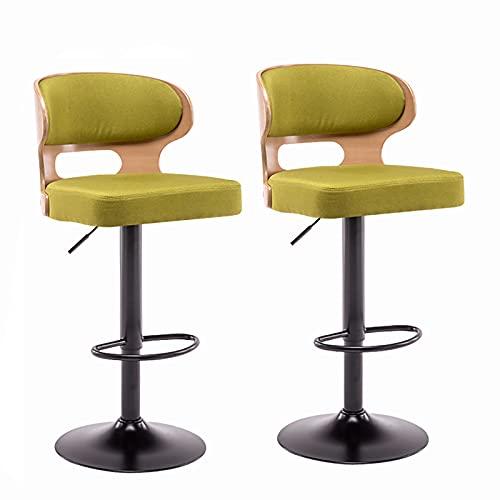 Conjunto de 2 sillones de barra rotatoria alta / 360 °, silla de comedor ajustable (H60-80CM), para Familia/Bar/Cafetería, 5 colores (Color : A)