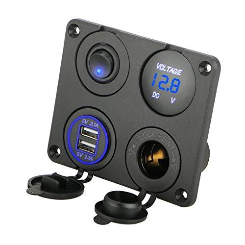 EEEKit 4 en 1 Toma de Corriente de Panel multifunción Cargador con Toma de Cigarrillos, voltímetro Digital Azul, Toma de Toma de Corriente Doble USB, Interruptor de Palanca de Encendido y Apagado