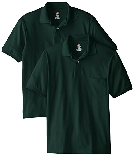 Hanes Men's Short-Sleeve Jersey Pocket Polo (Pack of 2), Deep Forest, Large