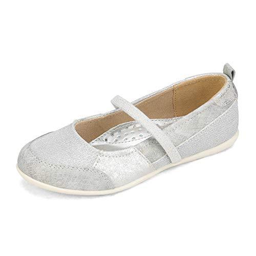 DREAM PAIRS Girls Slip On Dress Shoes Elastic Strap Mary Jane Ballet Flats Silver Size 11 Little Kid SASA-2