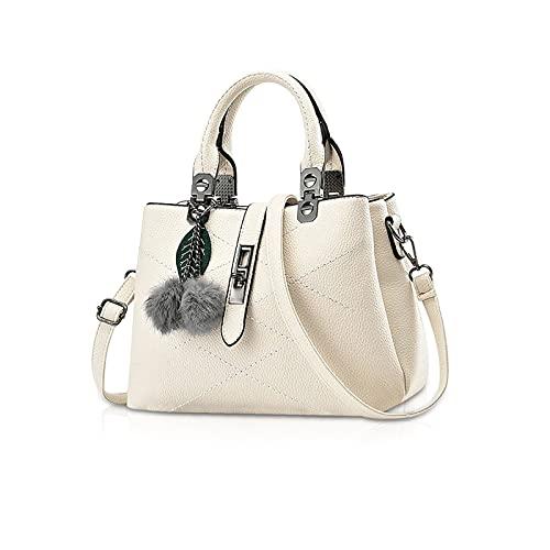 NICOLE & DORIS 2021 Neue Frauen Tasche Damen Leder Handtasche Mode Umhängetasche Mit Pompon abnehmbarem Schultergurt Handtasche Weiß