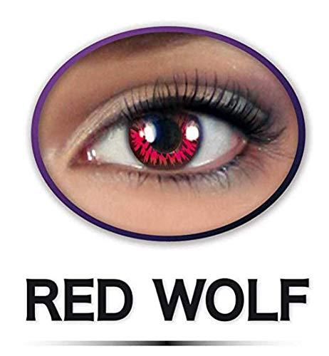 KarnevalsTeufel Fun Linsen Red Wolf Kontaktlinsen ohne Aufbewahrungsbehälter Halloween Motivlinsen