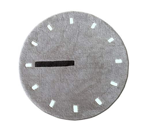 LZQDT LYX Nordic Watch Clock Wohnzimmer Runde Teppich Einfache Mode Schlafzimmer Nachttisch Computer Stuhl Runde Teppich Manuelle Verdicken Tufting 100x100 cm (Color : B, Size : 130x130cm)