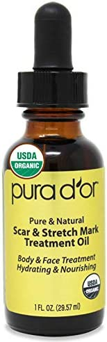 PURA D OR USDA Organic Scar and Stretch Mark Treatment Oil For Skin With Rosehip Wheat Germ product image