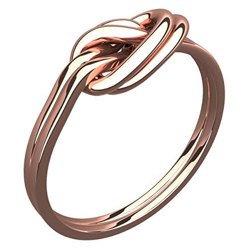 GWG Jewellery Anelli Donna Regalo Anello Placcato in Oro Rosa 18K Nodo d'Amore Celtico Doppio - 9 per Donne