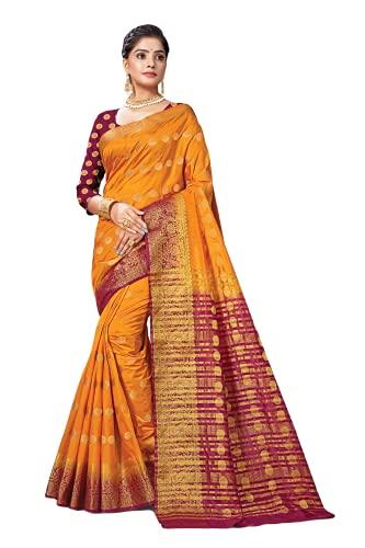Listo para usar sari para mujer de diseñador indio de algodón/seda con blusa a juego (con blusa cosida), Marrón- amarillo, M