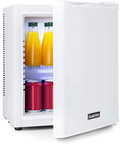 Klarstein Happy Hour - 25 Liter, Minibar, Mini-Kühlschrank, Getränkekühlschrank, Kompression, Kühltemperatur: 5-15 °C, Energieeffizienzklasse B, lautlos: 0 dB, LED-Licht, weiß