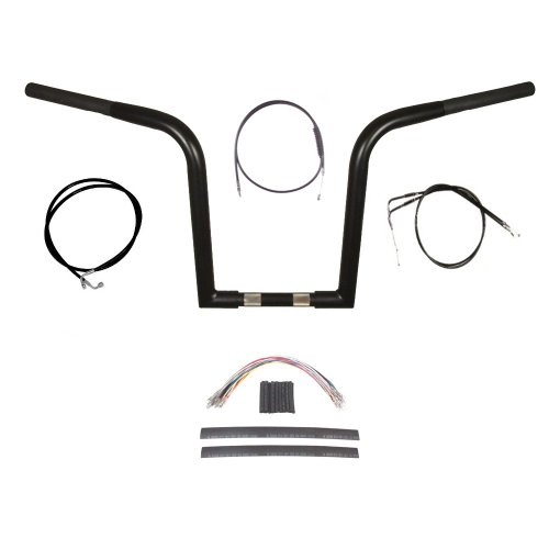 Hill Country Customs 1 1/4' BBlack Wild 1 WO614 14' Ape Hanger Kit for 2011 & Newer Harley-Davidson Softail models without ABS brakes - BC-0601-3158-ST11-BC