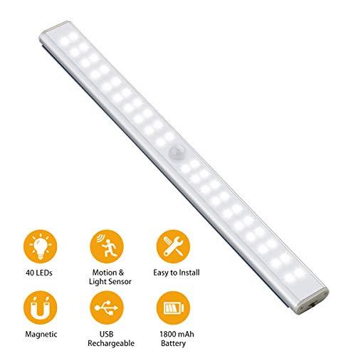 Schrankbeleuchtung mit Bewegungsmelder Ruixin 40 LED USB Wiederaufladbare Nachtlicht, Kabellos Kleiderschrank Lampe mit Magnetstreifen für Küche Dachboden Kabinett Flur Treppen