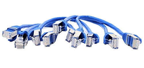 micro Connectors 1 Foot CAT 7 SFTP Double Shielded RJ45 Snagless Ethernet Cable, Blue- 5 Pack