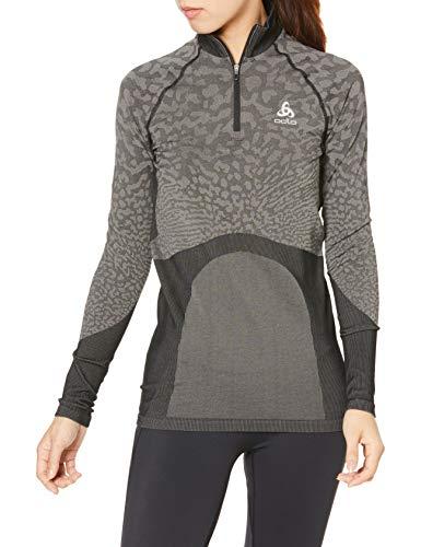 Odlo BL Turtle Neck Half Zip Blackcomb Longsleeve-Schwarz, Grau t-Shirts Femme, Noir, L