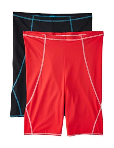 Amazon-Marke: find. Herren Bermudashorts, 2er-Pack, Mehrfarbig (Black/Red), EU XXXL (US XL - XXL)