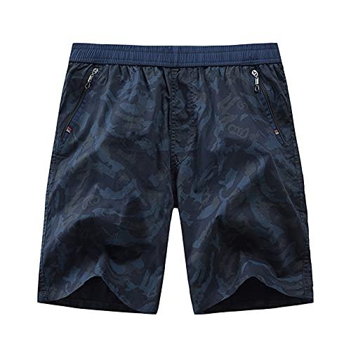DongBao Pantalones Cortos de Carga Vintage para Hombre de Ajuste Relajado para Acampar