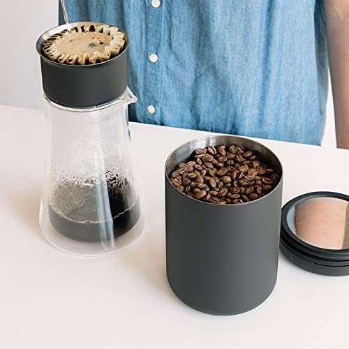 Fellow Atmos Vacuum Canister for Coffee & Food Storage - Airtight Sealed Container, Matte Black, Large Coffee Bean Storage, 1.2 Litre Jar