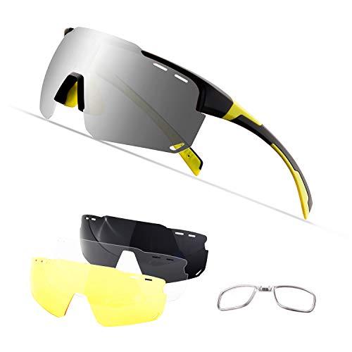 OULIQI Sportbrille Polarisierte Sonnenbrille,Radbrille Sportbrille Herren Damen, 4 Wechselgläser für Outdooraktivitäten wie Radfahren Laufen Klettern Autofahren Angeln Golf (Schwarz gelb)
