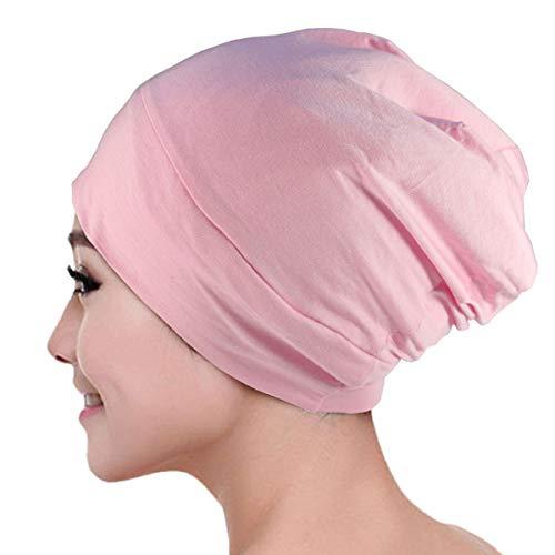 NIEBAIY Satin Lined Skull Cap, Sleep Cap Men Women Multifunctional Sleeping Caps for Women to Protect Hair Headwear Gifts (Pink)
