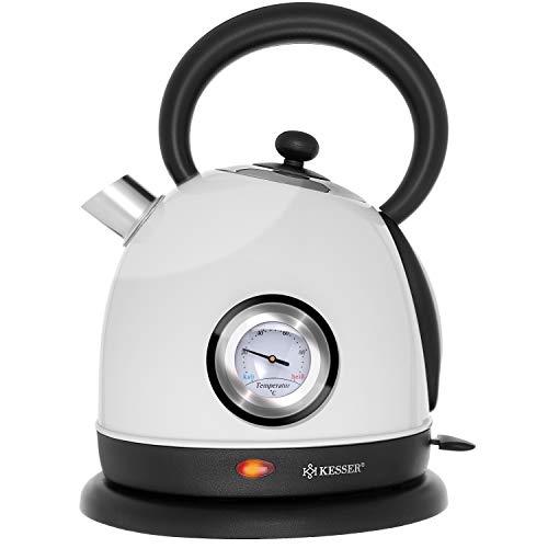 KESSER® Wasserkocher Edelstahl | 2200W | BPA frei | 1,8 Liter | Retro Design | Überhitzungsschutz | Teekocher Teekessel Kocher | Cool-Touch-Griff | kabellos | Temperaturanzeige | Weiß