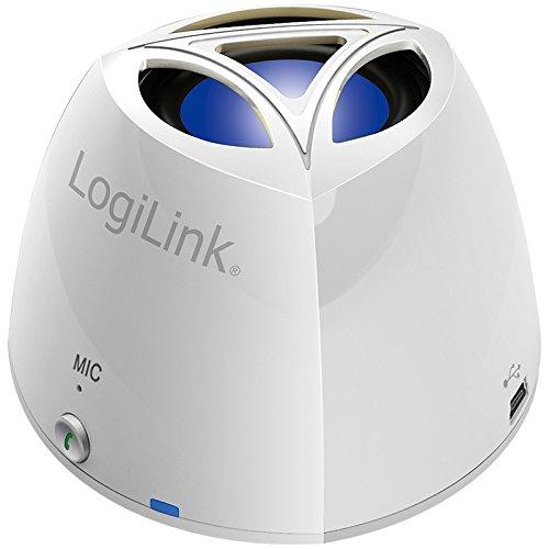 LogiLink SP0024W Bluetooth Lautsprecher, Bluetooth V3.0 + EDR, Class 2, unterstützt Apple iPhone, iPad, und alle Bluetooth Audio Geräte, weiß