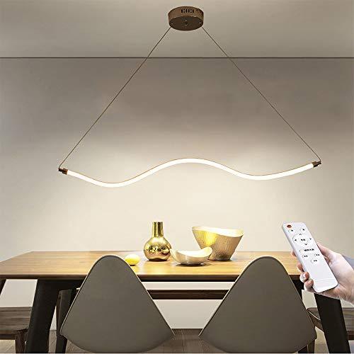 Dimmbar LED Pendelleuchte Modern Bürogebäude Hängelampe Fernbedienung Hängeleuchte Acryl Lampenschirm Höhenverstellbar Längliche Wohnzimmerlampe Küchelampe Couchtisch Landhaus Kronleuchter Gelb (I)