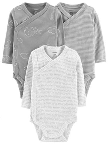 Carter's 3-Pack Side-Snap Little Baby Basics Bodysuit, (Boys) (9 Months, Gray/Clouds)