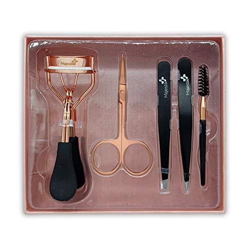 Wimpern- und Augenbrauen-Werkzeug-Set – das Augenbrauen- und Wimpern-Set – enthält Pinzette, Wimpernzange, Spoolie-Pinsel und Schere in Rosegold