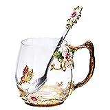 Tazza da tè in vetro, tazze smaltate fatte a mano, senza piombo, con cucchiaio, idea regalo per compleanno, per donne, nonna, mamma, amiche, insegnanti (rosa corto, 340,2 g)
