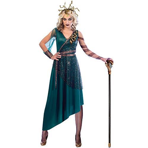 Amakando Disfraz hidra con Serpientes - Verde-Dorado L (ES 42/44) - Vestido de Medusa con Diadema - Incomparable para Fiestas temticas y Fiestas de Disfraces