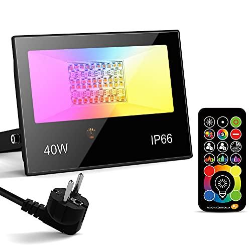 Foco LED Exterior 40W RGBW, 400W equivalente Control remoto focos cambio de color, Proyector RGB interior 4000LM blanco cálido 2700k, 120 colores Iluminación de caminos enchufe[Clase energética A++]
