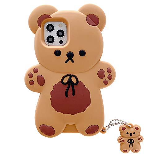 Yatchen Unique Case Compatible with iPhone 12 Pro Max,Cute Fun 3D Cartoon Bear Design with Mini Ornaments Soft Silicone Bumper Shockproof Protector (Bear, iPhone 12 Pro Max)