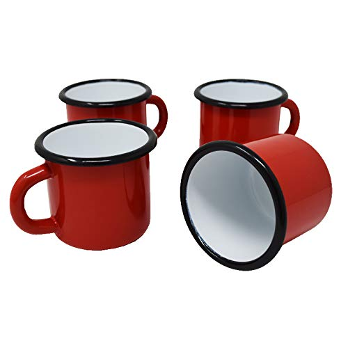 4 tazas de metal esmaltado rojas, 250 ml