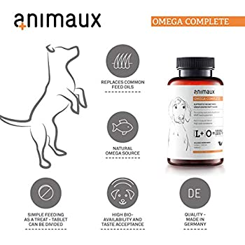 animaux - Omega Complete pour Chiens, Comprimés d'huile de Poisson. Acides Gras oméga 3, 6 et 9 pour Soutenir Le métabolisme, système cardiovasculaire et pour la Peau et Le Pelage