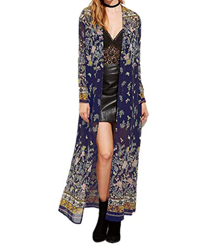 Zanzea Vrouwen Bloemen Kimono Vesten Chiffon Sjaal Zomer Lange Tops Bikini Cover Up Boheemse Maxi Jurk Strand Badmode