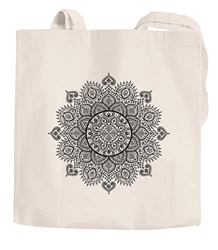 Autiga® - Bolsa de yute mandala étnico de algodón, color negro natural, talla única
