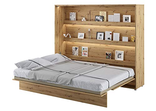 Schrankbett Bed Concept, Wandklappbett mit Lattenrost, V-Bett, Wandbett Bettschrank Schrank mit integriertem Klappbett Funktionsbett (BC-14, 160 x 200 cm, Artisan Eiche, Horizontal)