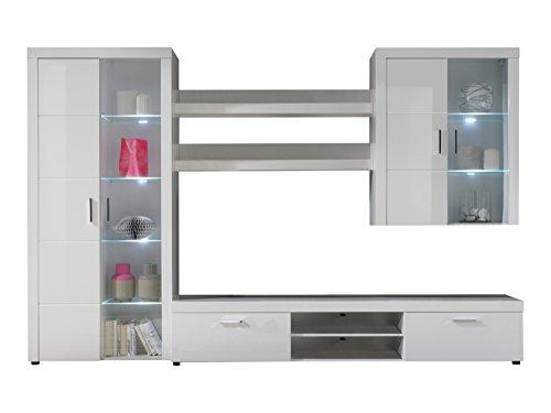 trendteam 1485-975-01 Wohnwand Leon,  301 x 195 x 40.5 cm, mit Front in weiß Hochglanz