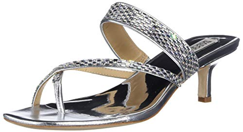 Badgley Mischka Women's Kitten Heel, Slide Heeled Sandal, Silver Leather, 9