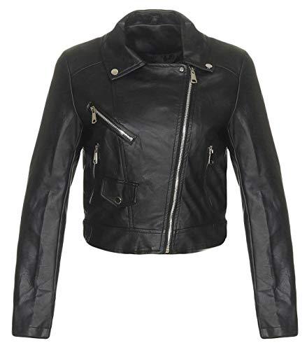 Malito Damen Jacke | Kunstleder Jacke | lässige Bikerjacke mit Zipper | Kurze Jacke - Faux Leather 5173 (schwarz, L)