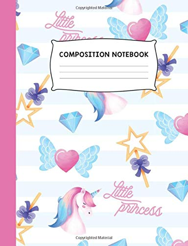 Little Princess: Unicorn Heart and Jewels Colorful Trendy Design Wide Ruled Composition Notebook Journal