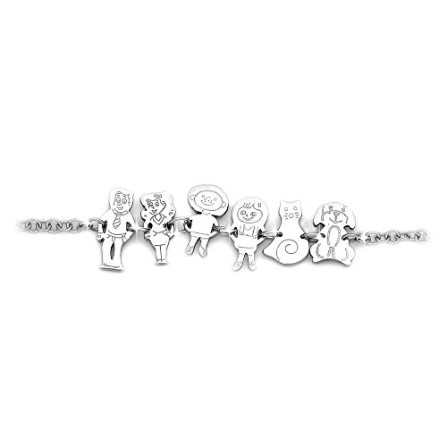 Beloved bracciale famiglia cartoon - braccialetto donna unisex - in acciaio - lunghezza regolabile varie composizioni - mamma, papa, famiglia (GENITORI + FIGLIO + FIGLIA + GATTO + CANE)