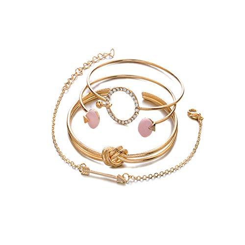 Armbänder Damen Set, Dsaren Mehrschichtiges Armband Verstellbare Reizend Perlen Hand Kette Stapelbar Gold Armreifen für Frauen Mädchen Geschenk (Ringknoten)