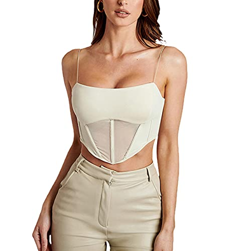 Sexy Backless Corsé Crop Tops Y2K Mesh sin mangas Strappy Slim Camisole Lace Up See Through Irregular Chaleco, albaricoque, L