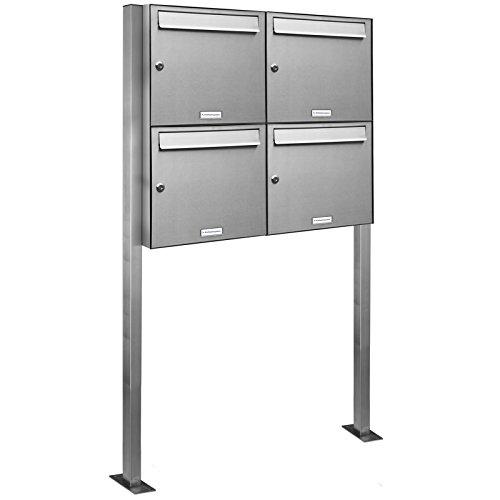 AL Briefkastensysteme 4er V2A Edelstahl Standbriefkasten rostfrei als 4 Fach Briefkastenanlage DIN A4 in Postkasten Briefkasten Design modern