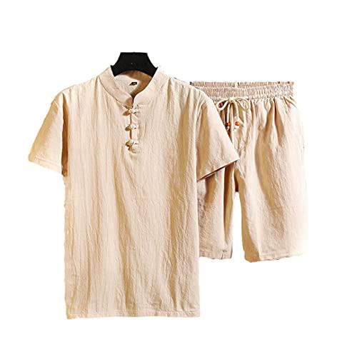 Camisa+Corto Verano Estilo Hombres Algodón Y Lino Camisa Sólido Hombres Ocio Dos Piezas Camisa, caqui, XXL