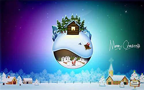 CQDSQN 3D Adesivi murali Sfondo Casa di palle di neve di Natale dei cartoni animati Autoadesiva PVC Murale Palestra Yoga Studio Negozio di vestiti Negozio di animali ClubFilm Gioco Tema(W)300x(H)210cm
