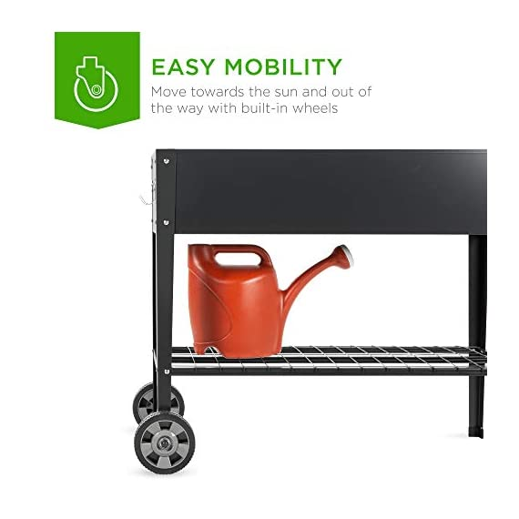 Best choice products elevated mobile raised ergonomic metal planter garden bed for backyard, patio w/wheels, lower shelf… 6 drainage holes: allows excess water to drain out, preventing root rot and oversaturation while keeping the soil fresh multipurpose storage: get the most out of your planting and storage space with a large-sized planter. Designed with a built-in storage shelf for easy-access to your gardening accessories ergonomic handlebar: comes equipped with an adjustable handlebar that can attach to either the top or bottom of the planter, making it easy to maneuver according to your need