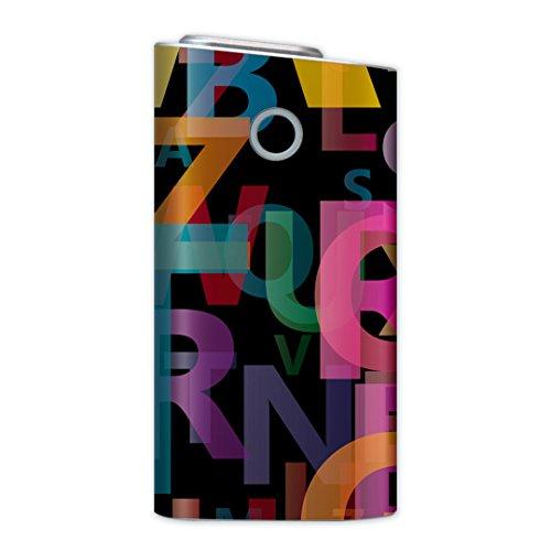 glo グロー グロウ 専用スキンシール 裏表2枚セット カバー ケース 保護 フィルム ステッカー デコ アクセサリー 電子たばこ タバコ 煙草 喫煙具 デザイン おしゃれ glow その他 英語 カラフル 文字 007067