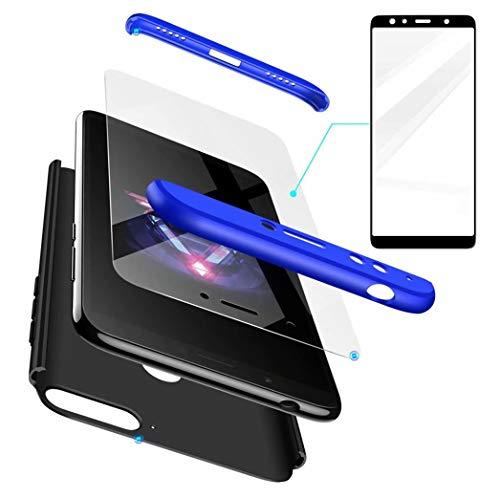 Huawei Honor 7X Hülle+Gehärteter Glas Folie 360 Grad HandyHülle PC Hartschale Anti-Schock Schutzhülle Anti-Kratz Stoßfänger Bumper 360° Cover Case matt Schutzkasten(Blau schwarz)