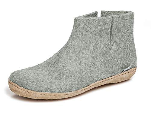 Glerups G Grey 46 EU - Unisex Women's/Men's 100% Natural Wool Boot Slipper with Leather Sole EU 46 (US 12-12.5 Men)